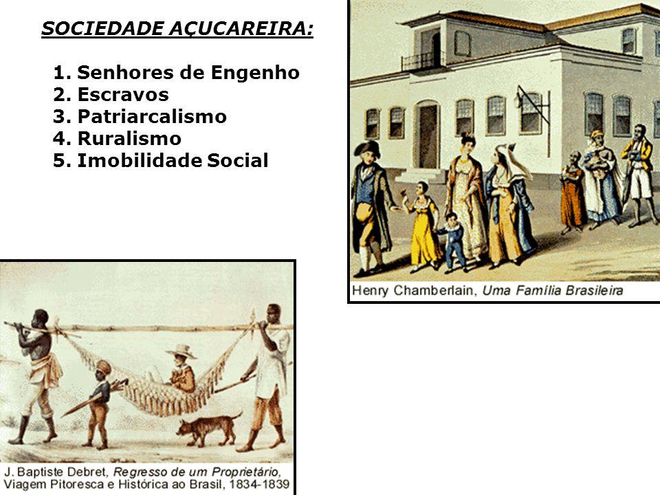 SOCIEDADE AÇUCAREIRA: 1.Senhores de Engenho 2.Escravos 3.Patriarcalismo 4.Ruralismo 5.Imobilidade Social