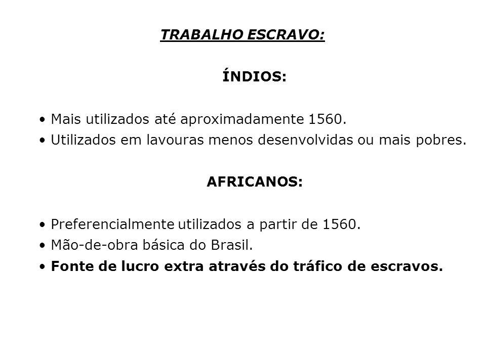 TRABALHO ESCRAVO: ÍNDIOS: Mais utilizados até aproximadamente 1560. Utilizados em lavouras menos desenvolvidas ou mais pobres. AFRICANOS: Preferencial