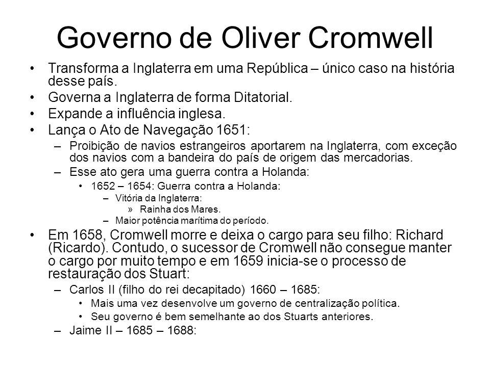 Governo de Oliver Cromwell Transforma a Inglaterra em uma República – único caso na história desse país. Governa a Inglaterra de forma Ditatorial. Exp