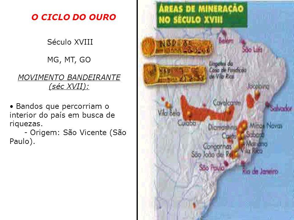 O CICLO DO OURO Século XVIII MG, MT, GO MOVIMENTO BANDEIRANTE (séc XVII): Bandos que percorriam o interior do país em busca de riquezas. - Origem: São