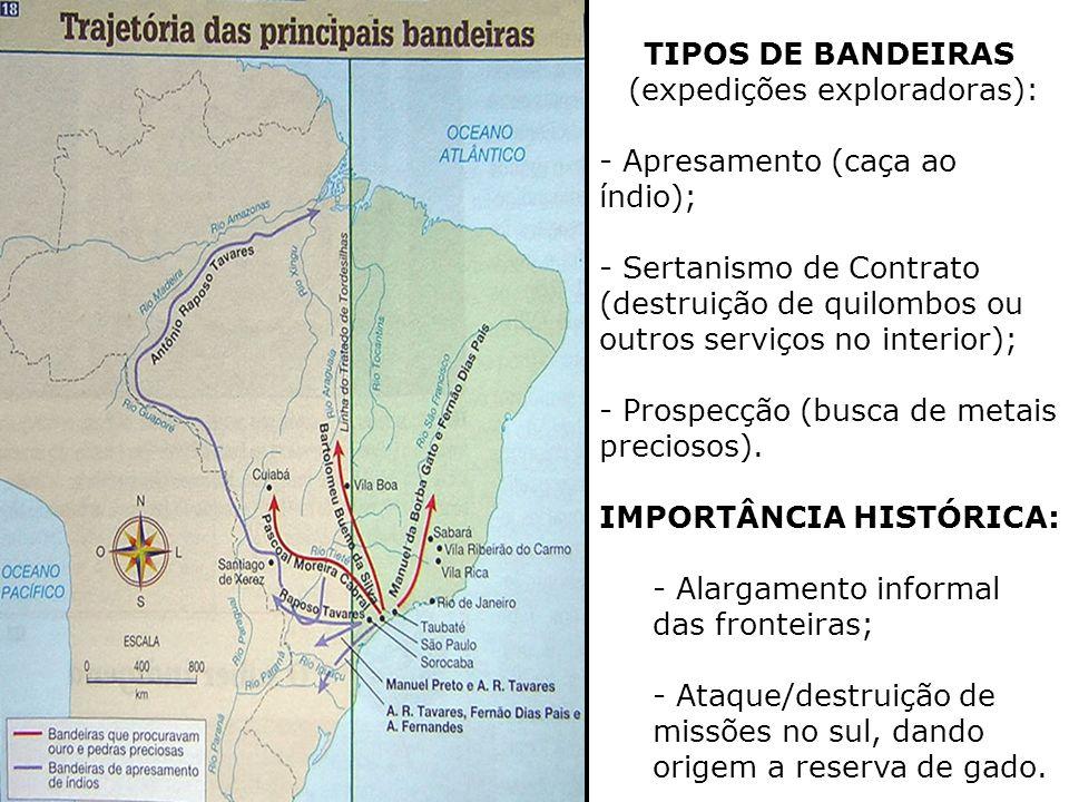 TIPOS DE BANDEIRAS (expedições exploradoras): - Apresamento (caça ao índio); - Sertanismo de Contrato (destruição de quilombos ou outros serviços no i