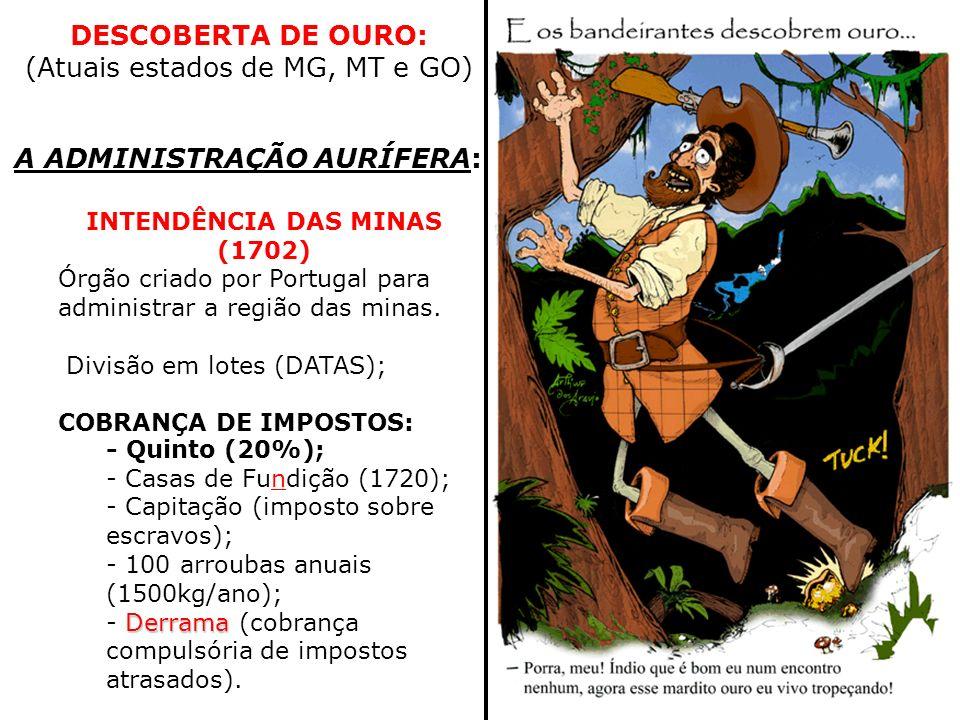 A ADMINISTRAÇÃO AURÍFERA: - Quinto (20%); - Casas de Fundição (1720); - Capitação (imposto sobre escravos); - 100 arroubas anuais (1500kg/ano); Derram