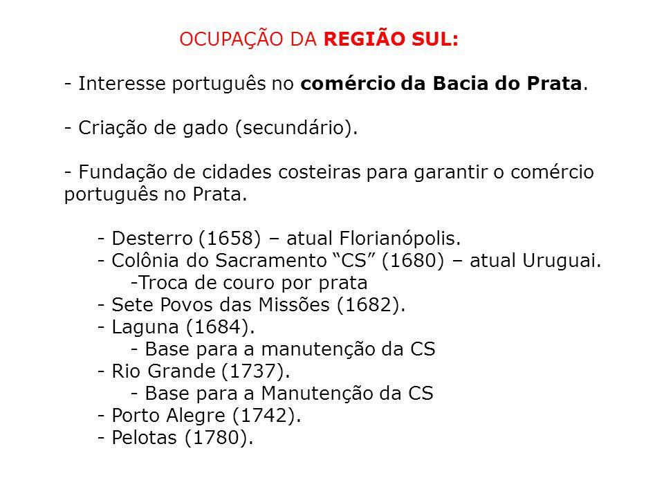 OCUPAÇÃO DA REGIÃO SUL: - Interesse português no comércio da Bacia do Prata. - Criação de gado (secundário). - Fundação de cidades costeiras para gara