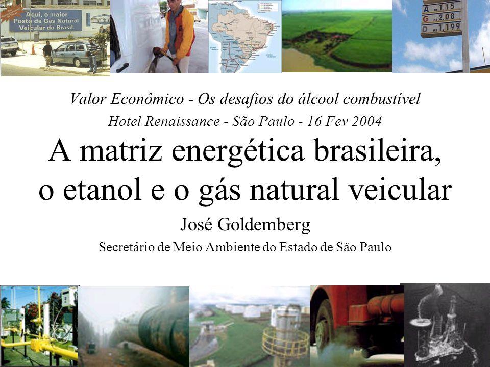 Valor Econômico - Os desafios do álcool combustível Hotel Renaissance - São Paulo - 16 Fev 2004 A matriz energética brasileira, o etanol e o gás natur