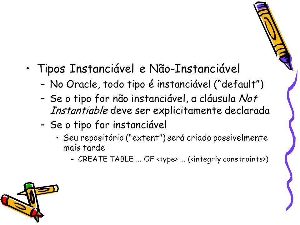Tipos Instanciável e Não-Instanciável –No Oracle, todo tipo é instanciável (default) –Se o tipo for não instanciável, a cláusula Not Instantiable deve