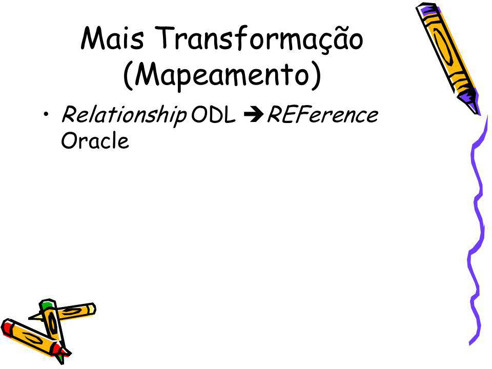 Mais Transformação (Mapeamento) Relationship ODL REFerence Oracle