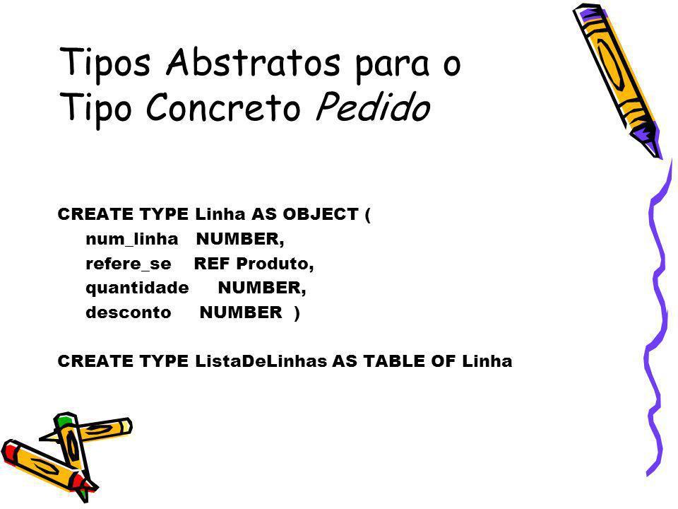 CREATE TYPE Linha AS OBJECT ( num_linha NUMBER, refere_se REF Produto, quantidade NUMBER, desconto NUMBER ) CREATE TYPE ListaDeLinhas AS TABLE OF Linh