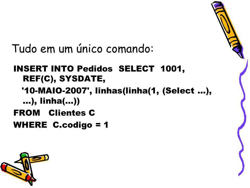 INSERT INTO Pedidos SELECT 1001, REF(C), SYSDATE, '10-MAIO-2007', linhas(linha(1, (Select …), …), linha(…)) FROM Clientes C WHERE C.codigo = 1 Tudo em