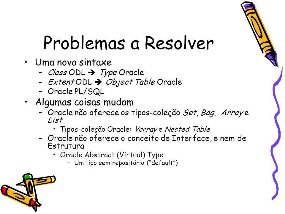 Problemas a Resolver Uma nova sintaxe –Class ODL Type Oracle –Extent ODL Object Table Oracle –Oracle PL/SQL Algumas coisas mudam –Oracle não oferece o