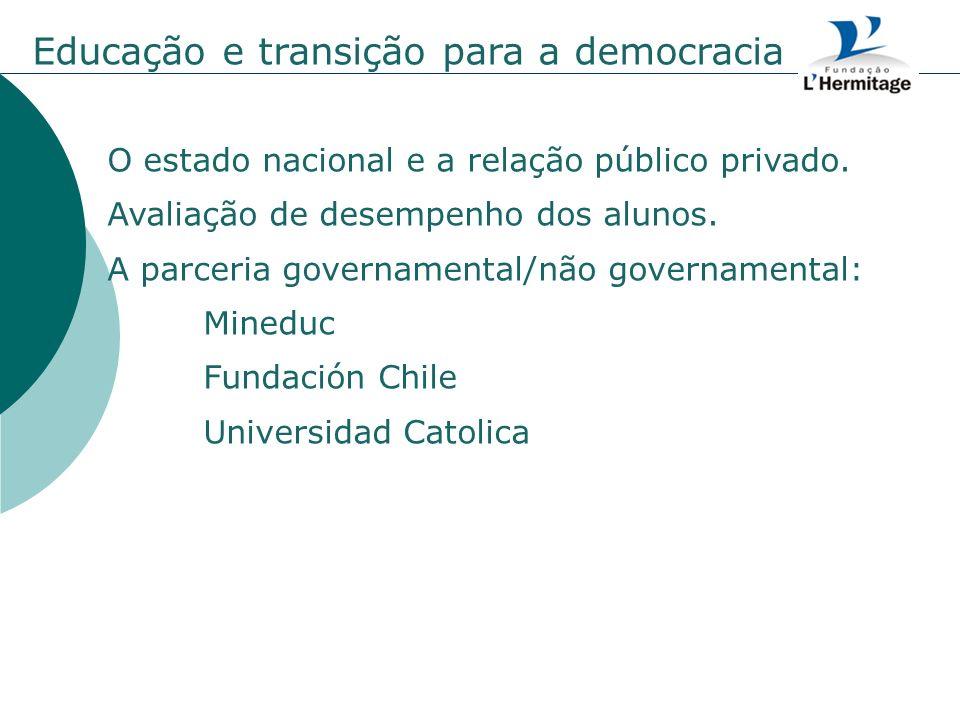 Educação e transição para a democracia O estado nacional e a relação público privado. Avaliação de desempenho dos alunos. A parceria governamental/não