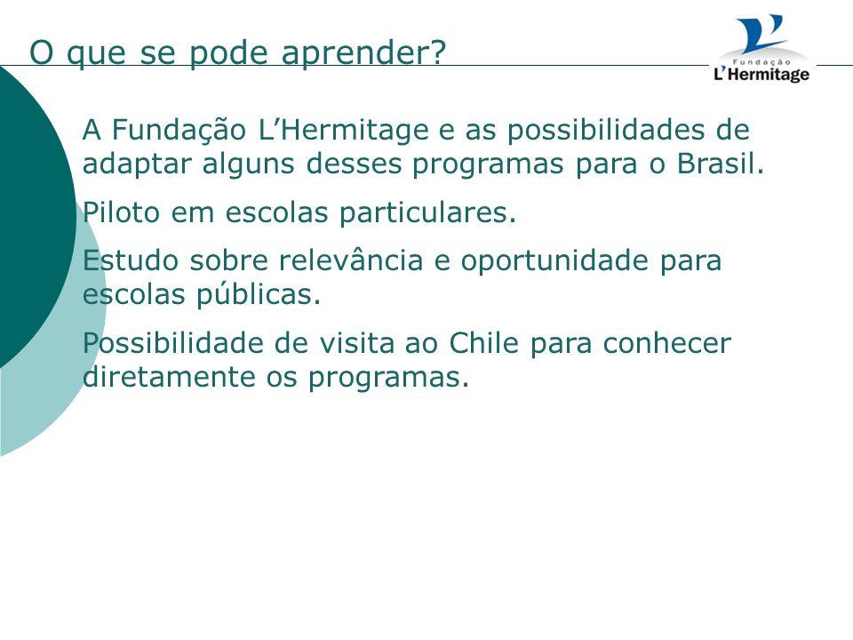 A Fundação LHermitage e as possibilidades de adaptar alguns desses programas para o Brasil. Piloto em escolas particulares. Estudo sobre relevância e