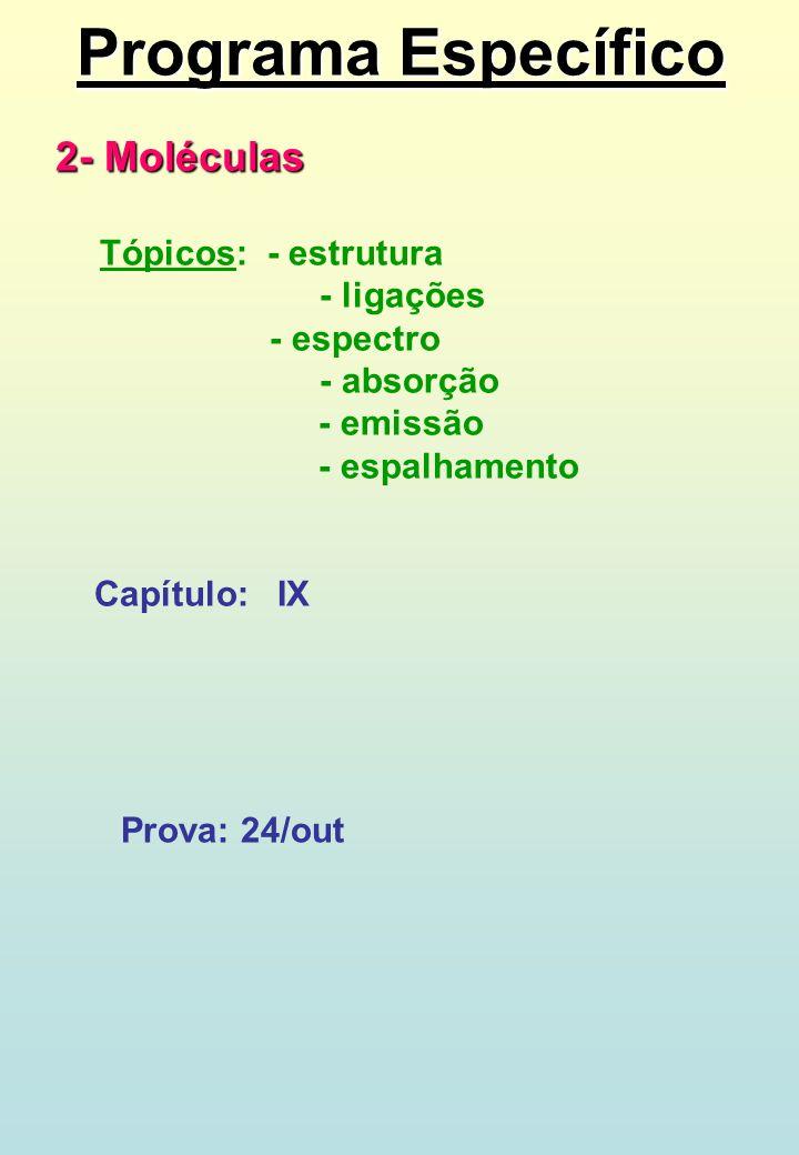 Programa Específico 2- Moléculas Tópicos: - estrutura - ligações - espectro - absorção - emissão - espalhamento Capítulo: IX Prova: 24/out