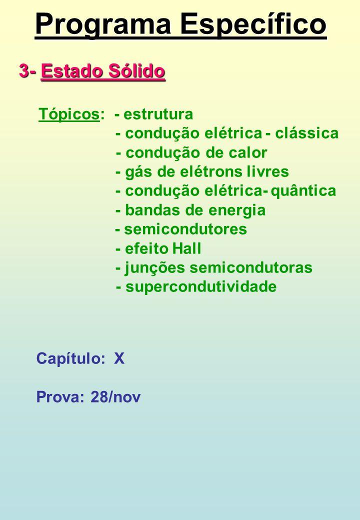 Programa Específico 3- Estado Sólido Tópicos: - estrutura - condução elétrica - clássica - condução de calor - gás de elétrons livres - condução elétr