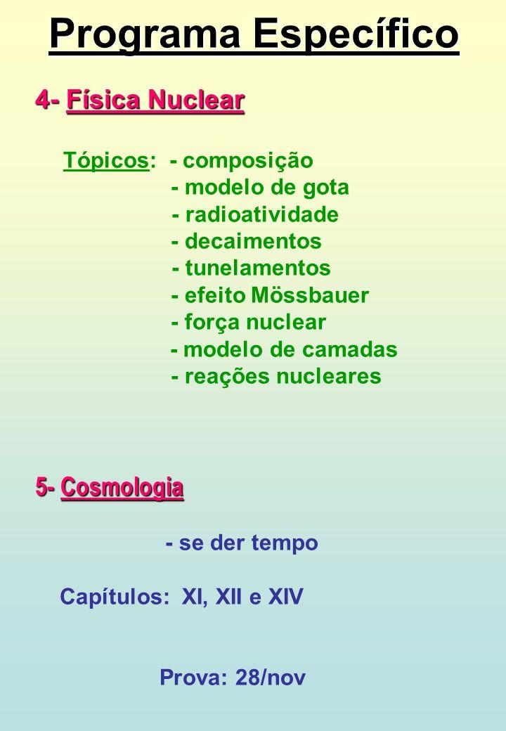 Programa Específico 4- Física Nuclear Tópicos: - composição - modelo de gota - radioatividade - decaimentos - tunelamentos - efeito Mössbauer - força