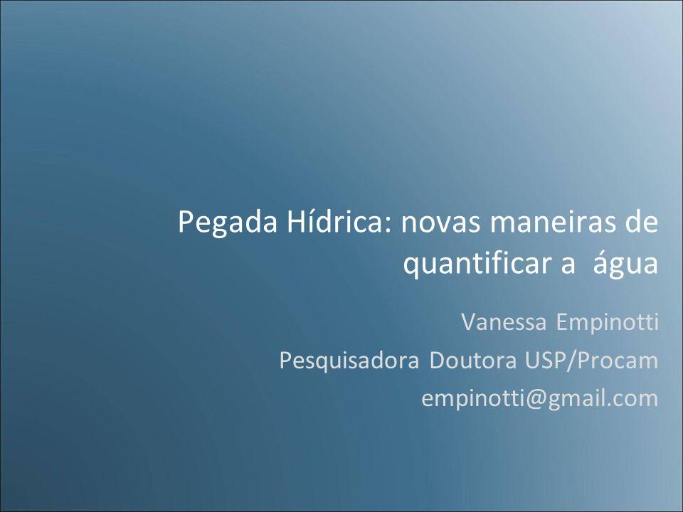 Pegada Hídrica: novas maneiras de quantificar a água Vanessa Empinotti Pesquisadora Doutora USP/Procam empinotti@gmail.com