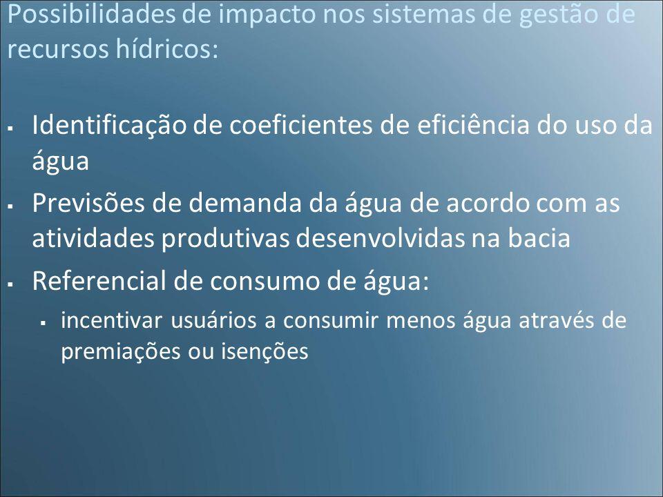 Possibilidades de impacto nos sistemas de gestão de recursos hídricos: Identificação de coeficientes de eficiência do uso da água Previsões de demanda