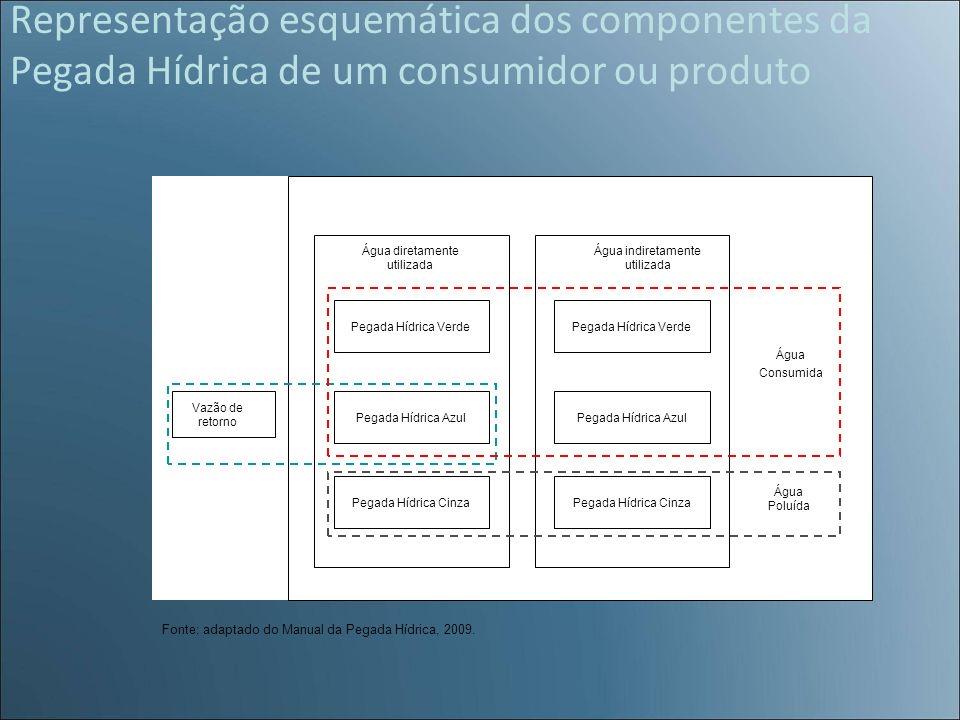 Representação esquemática dos componentes da Pegada Hídrica de um consumidor ou produto Pegada Hídrica Verde Pegada Hídrica Cinza Pegada Hídrica Azul