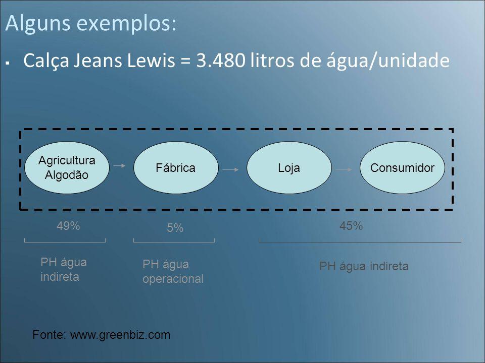 Alguns exemplos: Calça Jeans Lewis = 3.480 litros de água/unidade Agricultura Algodão FábricaLojaConsumidor 49% 5% 45% PH água operacional PH água ind