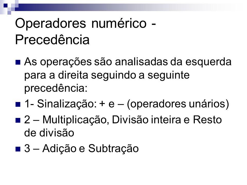 Operadores numérico - Precedência As operações são analisadas da esquerda para a direita seguindo a seguinte precedência: 1- Sinalização: + e – (opera