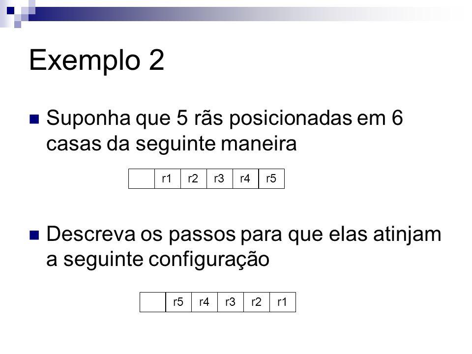Exemplo 2 Suponha que 5 rãs posicionadas em 6 casas da seguinte maneira Descreva os passos para que elas atinjam a seguinte configuração r1r2r3r4r5 r4