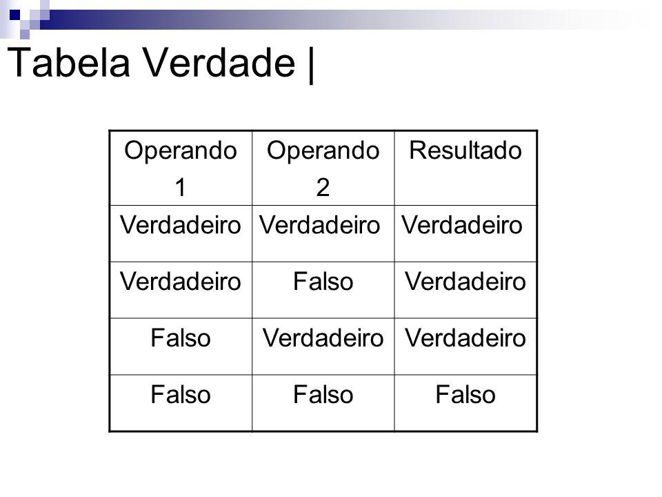 Tabela Verdade | Operando 1 Operando 2 Resultado Verdadeiro FalsoVerdadeiro FalsoVerdadeiro Falso