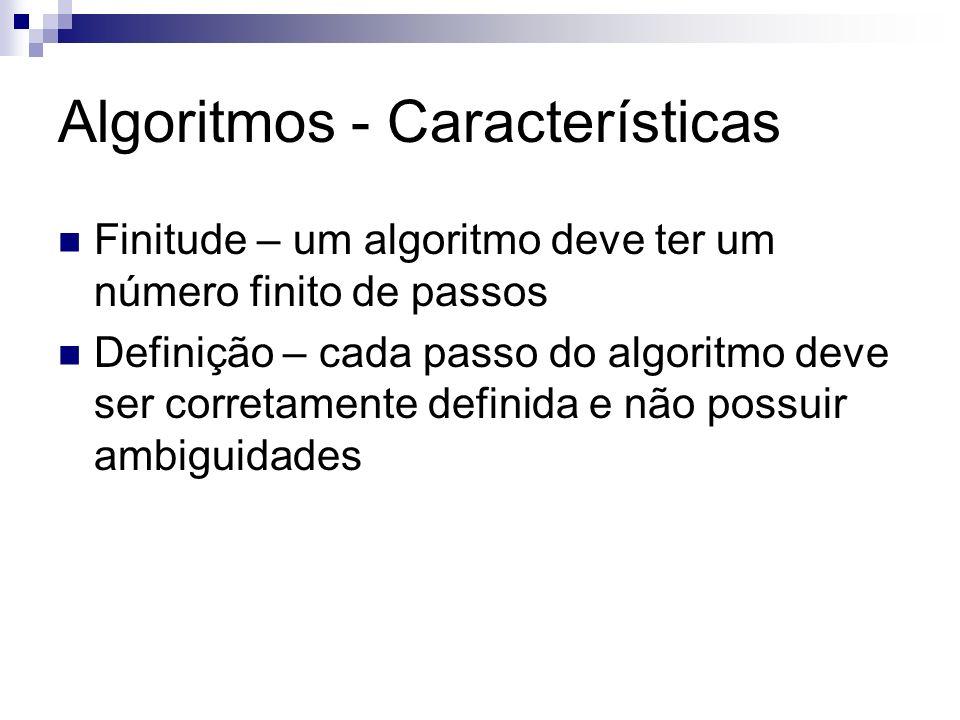 Algoritmo - Características Entrada – um algoritmo deve ter zero ou mais entradas Saída – um algoritmo deve ter uma ou mais saídas Efetividade – um algoritmo deve ter operações suficientemente básicas de modo que possa ser executado com precisão por um humano, usando papel e lápis, em um tempo finito