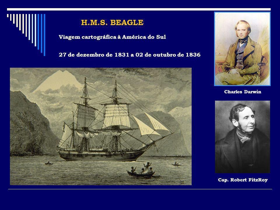 H.M.S. BEAGLE Viagem cartográfica à América do Sul 27 de dezembro de 1831 a 02 de outubro de 1836 Charles Darwin Cap. Robert FitzRoy