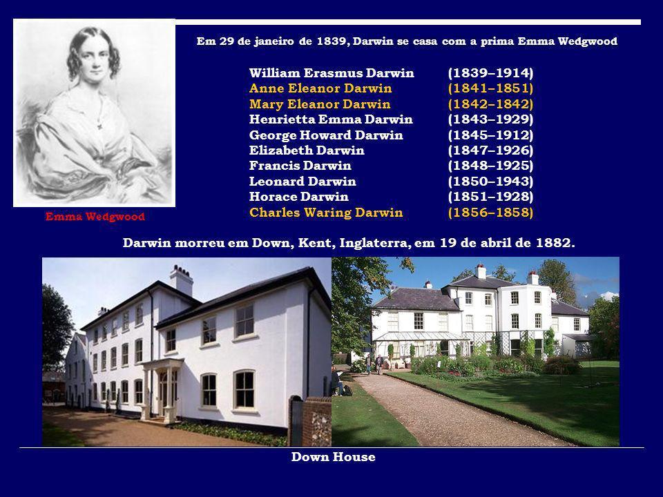 Darwin morreu em Down, Kent, Inglaterra, em 19 de abril de 1882. Down House Em 29 de janeiro de 1839, Darwin se casa com a prima Emma Wedgwood Emma We