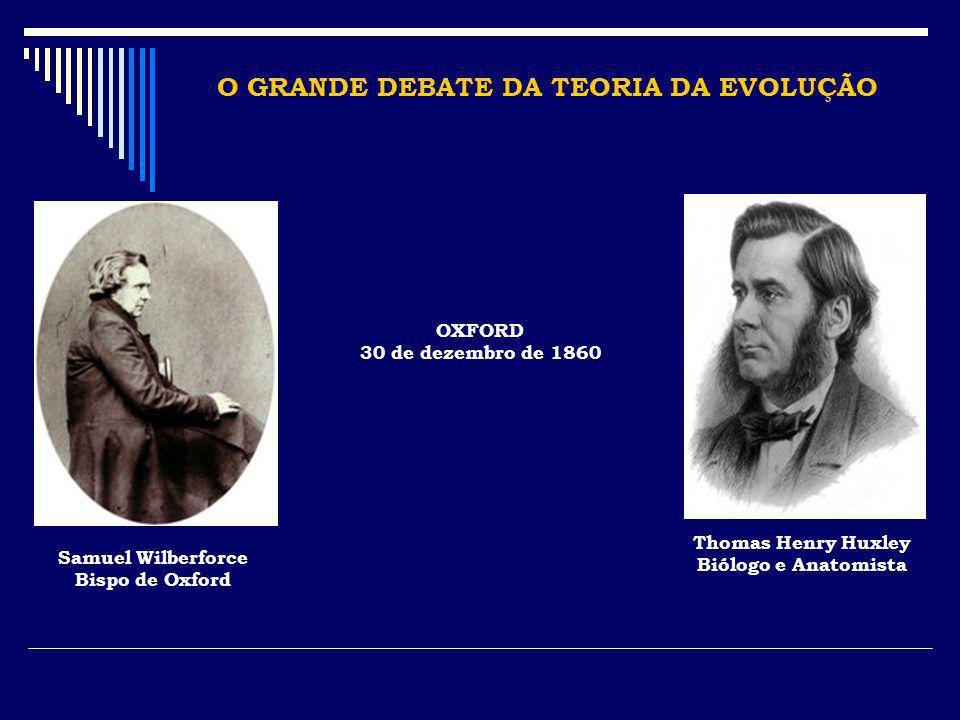 O GRANDE DEBATE DA TEORIA DA EVOLUÇÃO OXFORD 30 de dezembro de 1860 Samuel Wilberforce Bispo de Oxford Thomas Henry Huxley Biólogo e Anatomista