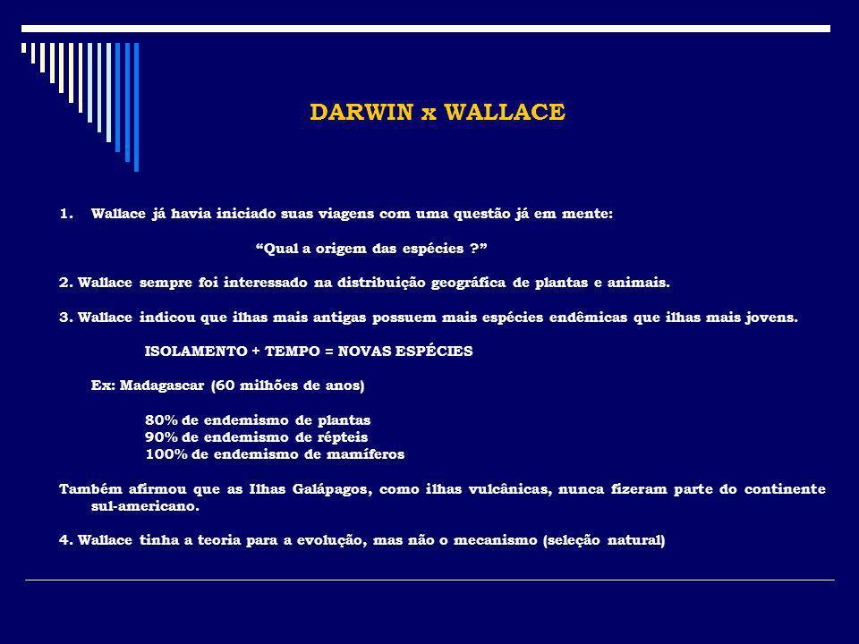 DARWIN x WALLACE 1.Wallace já havia iniciado suas viagens com uma questão já em mente: Qual a origem das espécies ? 2. Wallace sempre foi interessado