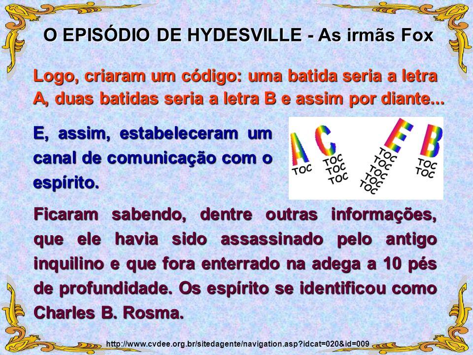 E, assim, estabeleceram um canal de comunicação com o espírito. O EPISÓDIO DE HYDESVILLE - As irmãs Fox http://www.cvdee.org.br/sitedagente/navigation