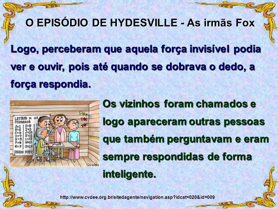 O EPISÓDIO DE HYDESVILLE - As irmãs Fox http://www.cvdee.org.br/sitedagente/navigation.asp?idcat=020&id=009 Logo, perceberam que aquela força invisíve