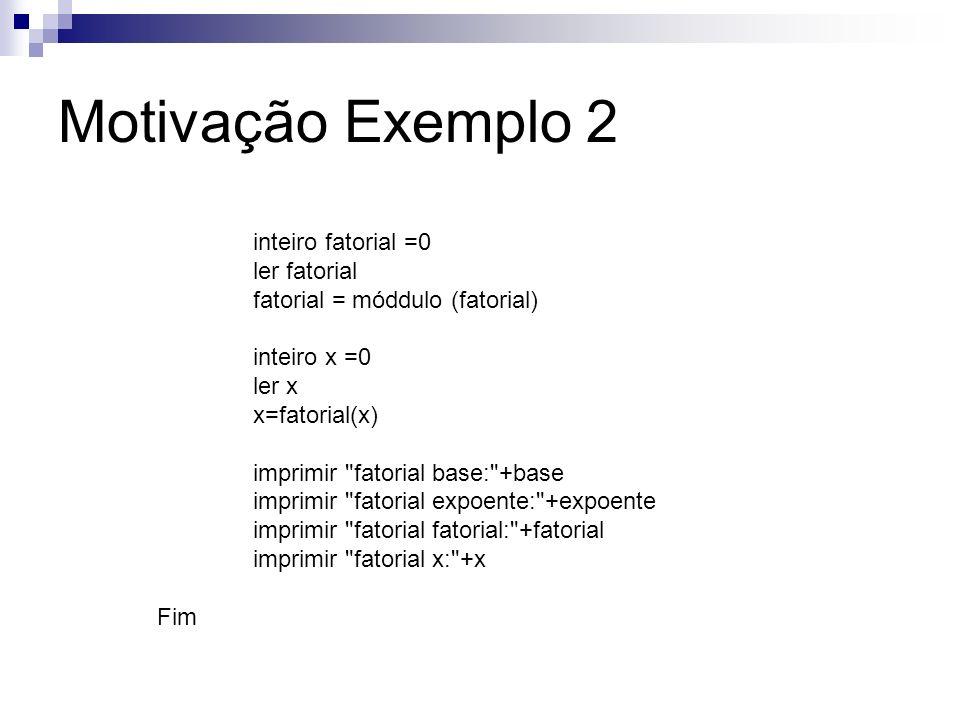 inteiro fatorial =0 ler fatorial fatorial = móddulo (fatorial) inteiro x =0 ler x x=fatorial(x) imprimir