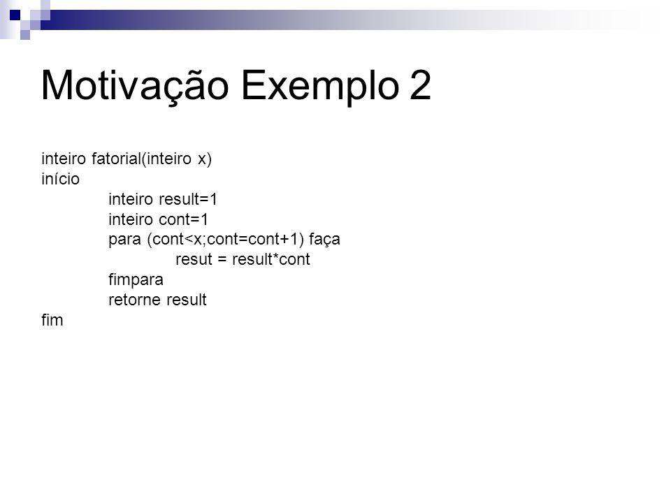 inteiro fatorial(inteiro x) início inteiro result=1 inteiro cont=1 para (cont<x;cont=cont+1) faça resut = result*cont fimpara retorne result fim Motiv