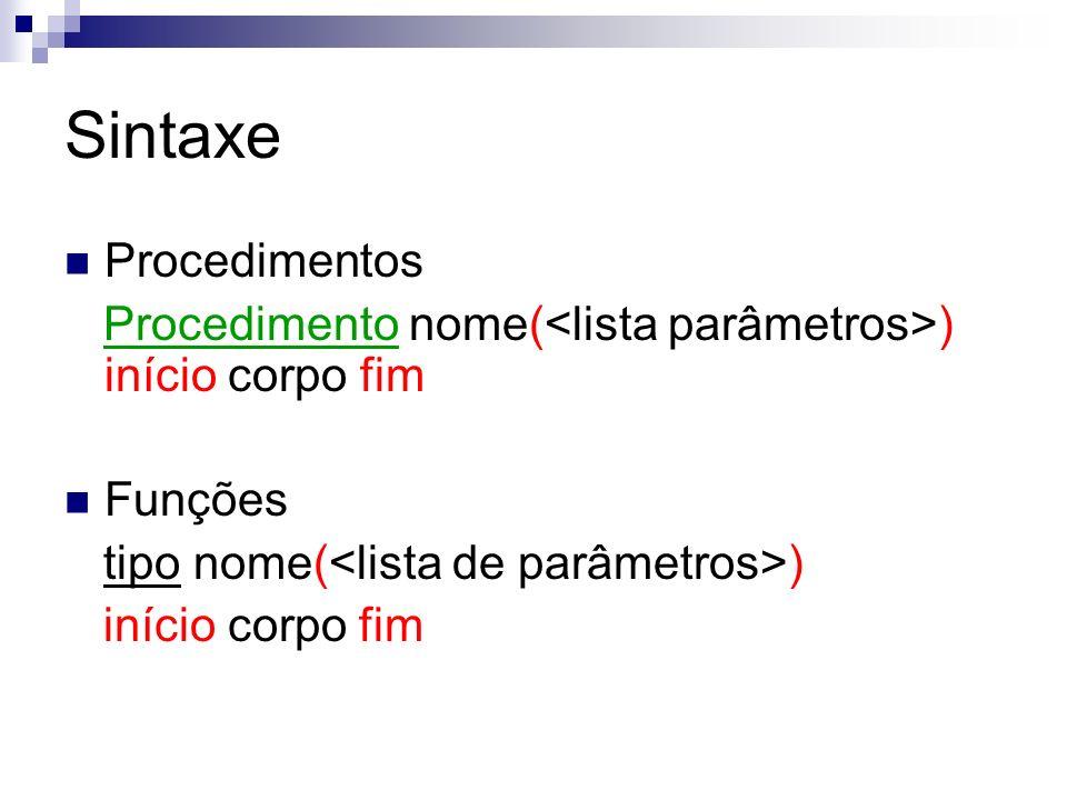 Sintaxe Procedimentos Procedimento nome( ) início corpo fim Funções tipo nome( ) início corpo fim