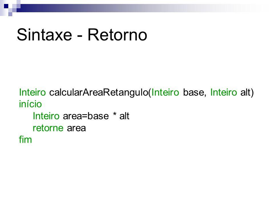 Sintaxe - Retorno Inteiro calcularAreaRetangulo(Inteiro base, Inteiro alt) início Inteiro area=base * alt retorne area fim