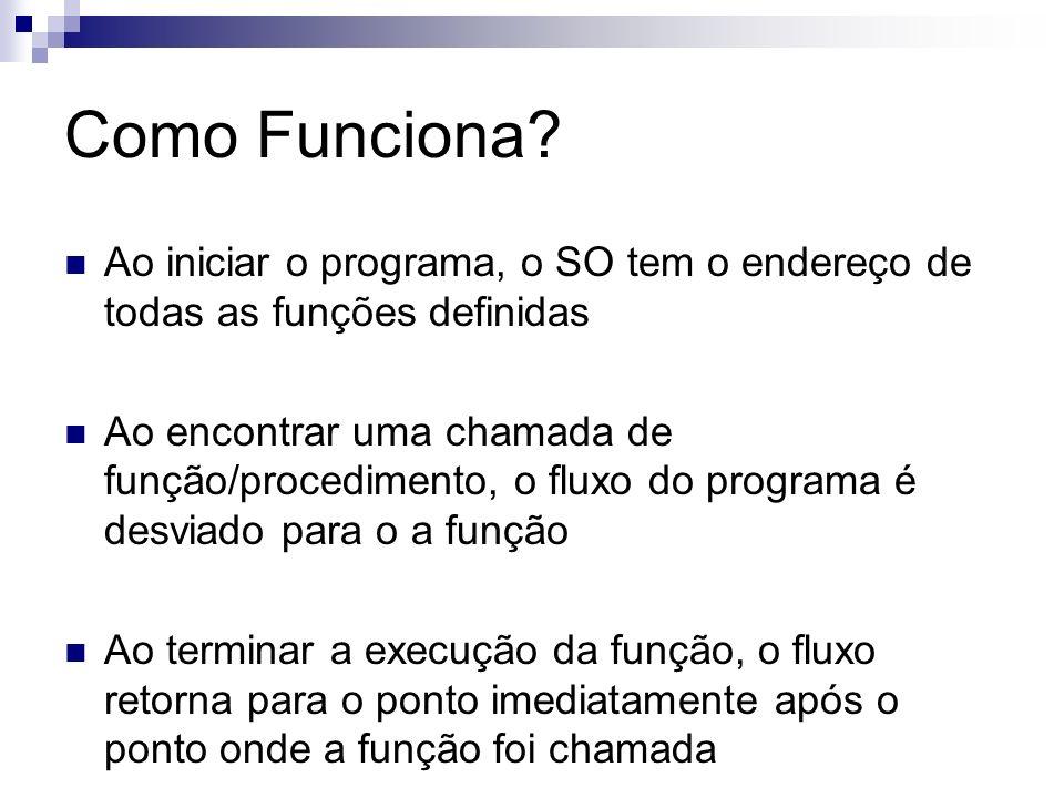 Como Funciona? Ao iniciar o programa, o SO tem o endereço de todas as funções definidas Ao encontrar uma chamada de função/procedimento, o fluxo do pr