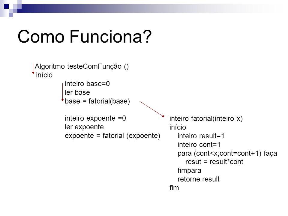 Algoritmo testeComFunção () início inteiro base=0 ler base base = fatorial(base) inteiro expoente =0 ler expoente expoente = fatorial (expoente) Como