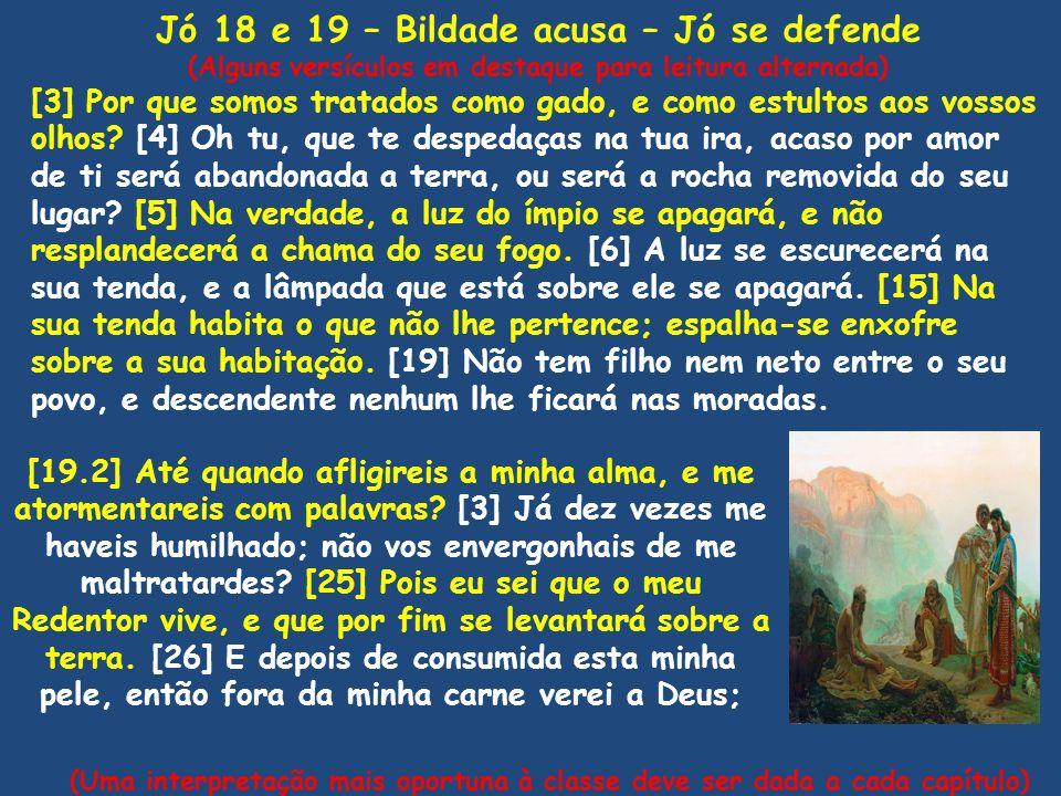 Jó 18 e 19 – Bildade acusa – Jó se defende (Alguns versículos em destaque para leitura alternada) [3] Por que somos tratados como gado, e como estulto