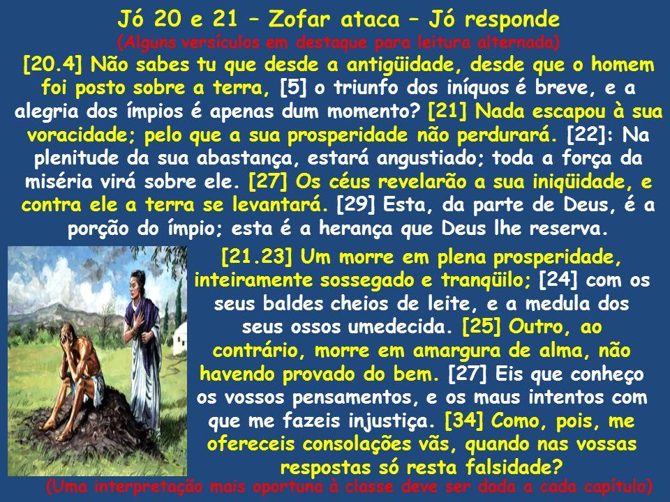 Jó 20 e 21 – Zofar ataca – Jó responde (Alguns versículos em destaque para leitura alternada) [20.4] Não sabes tu que desde a antigüidade, desde que o