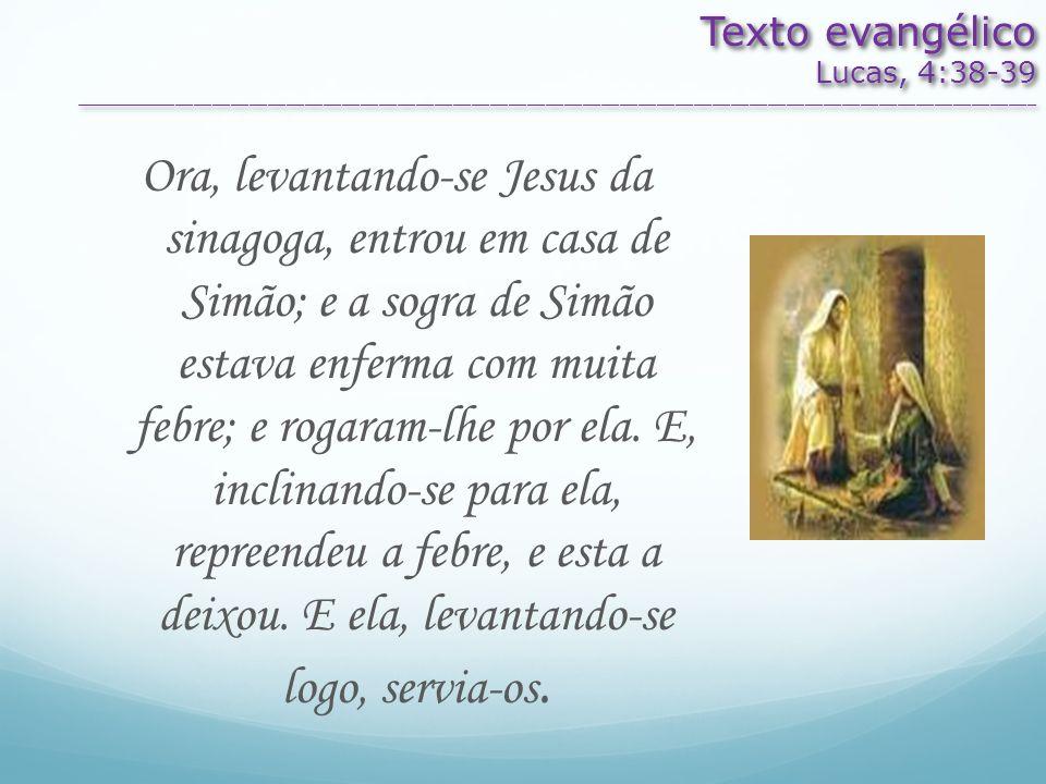 Texto evangélico Lucas, 4:38-39 ________________________________________________________________________________________________________ Texto evangél