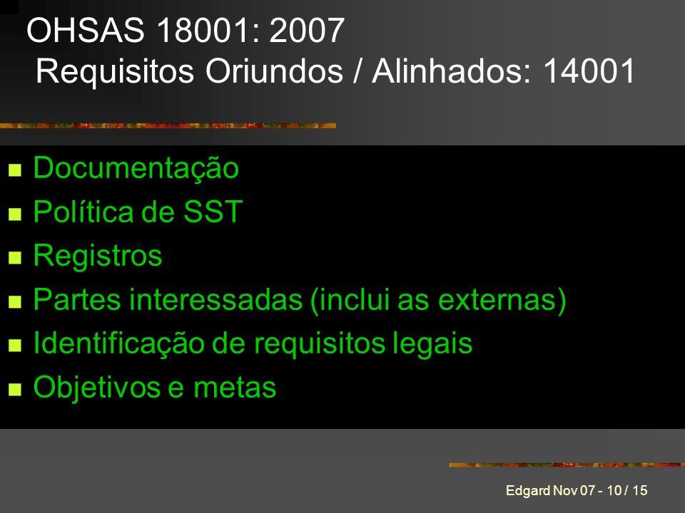 Edgard Nov 07 - 10 / 15 Documentação Política de SST Registros Partes interessadas (inclui as externas) Identificação de requisitos legais Objetivos e metas OHSAS 18001: 2007 Requisitos Oriundos / Alinhados: 14001