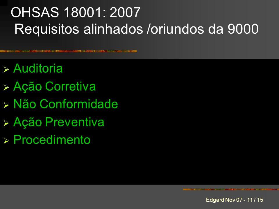 Edgard Nov 07 - 11 / 15 Auditoria Ação Corretiva Não Conformidade Ação Preventiva Procedimento OHSAS 18001: 2007 Requisitos alinhados /oriundos da 9000
