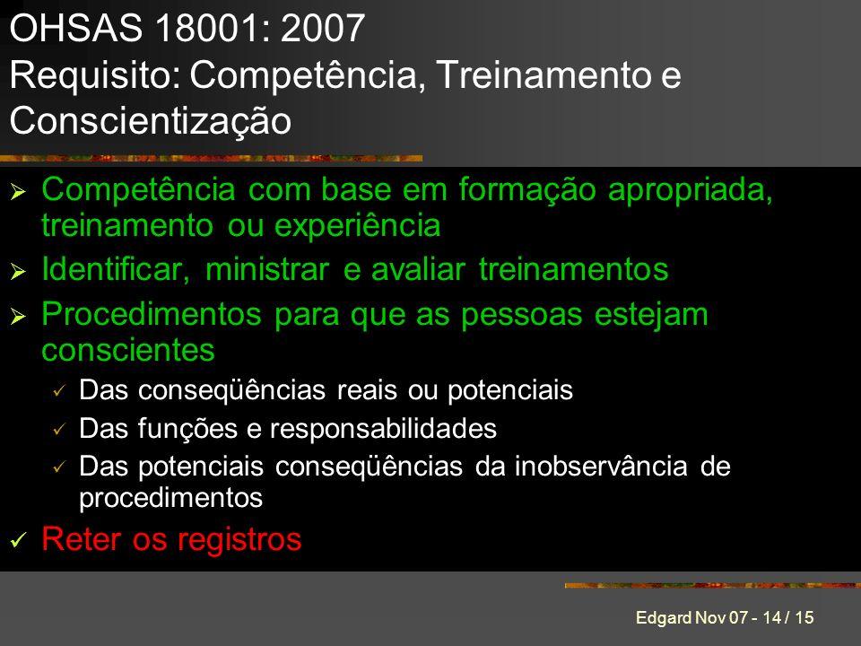 Edgard Nov 07 - 14 / 15 Competência com base em formação apropriada, treinamento ou experiência Identificar, ministrar e avaliar treinamentos Procedimentos para que as pessoas estejam conscientes Das conseqüências reais ou potenciais Das funções e responsabilidades Das potenciais conseqüências da inobservância de procedimentos Reter os registros OHSAS 18001: 2007 Requisito: Competência, Treinamento e Conscientização