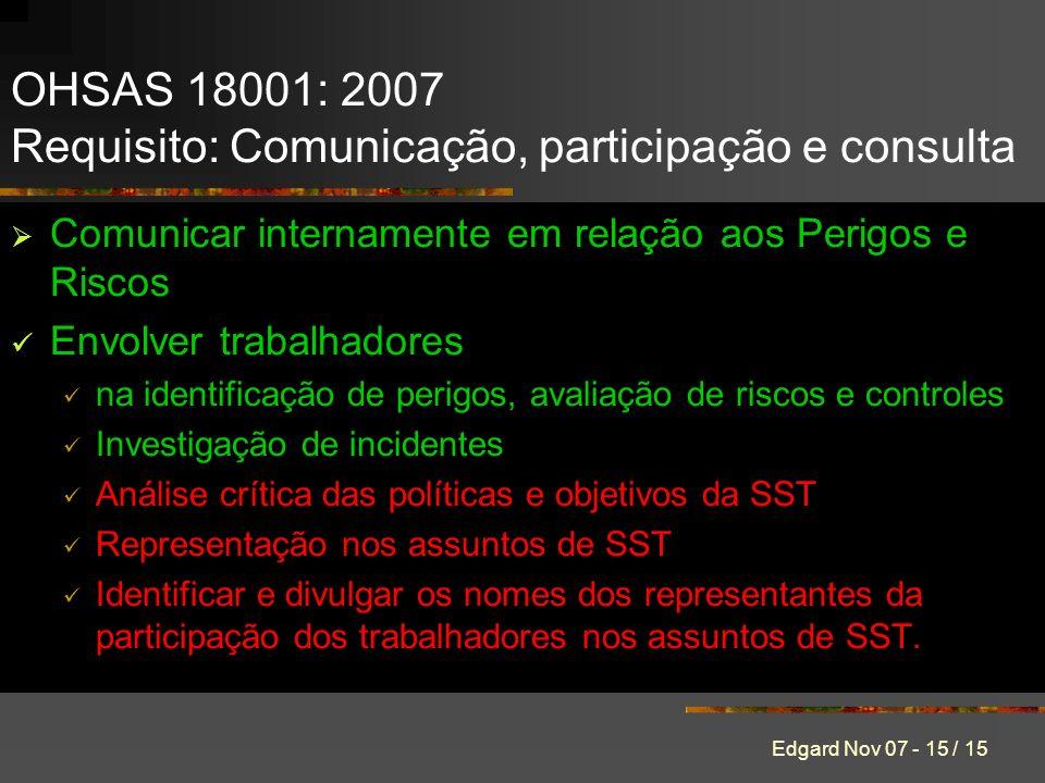 Edgard Nov 07 - 15 / 15 Comunicar internamente em relação aos Perigos e Riscos Envolver trabalhadores na identificação de perigos, avaliação de riscos