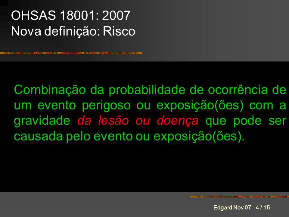 Edgard Nov 07 - 4 / 15 Combinação da probabilidade de ocorrência de um evento perigoso ou exposição(ões) com a gravidade da lesão ou doença que pode ser causada pelo evento ou exposição(ões).