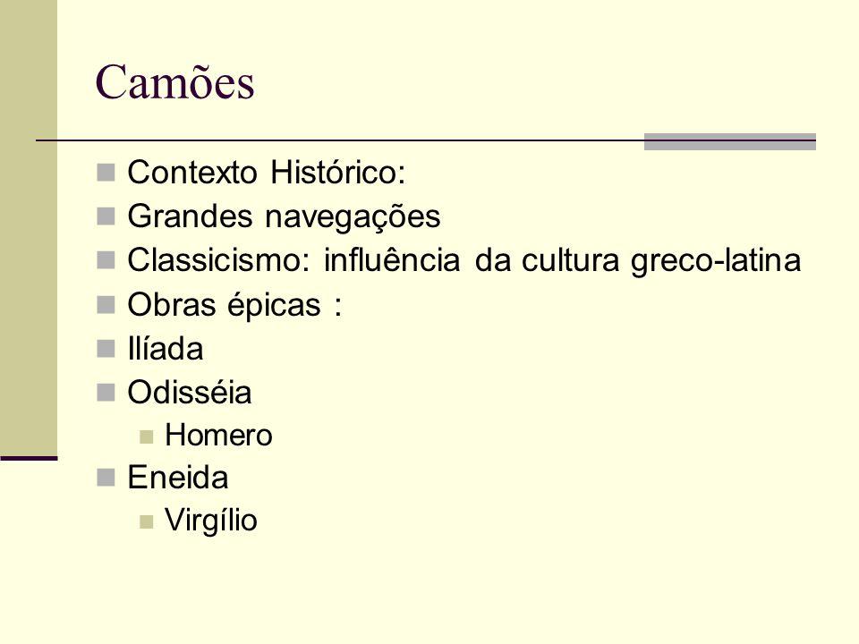 Camões Contexto Histórico: Grandes navegações Classicismo: influência da cultura greco-latina Obras épicas : Ilíada Odisséia Homero Eneida Virgílio