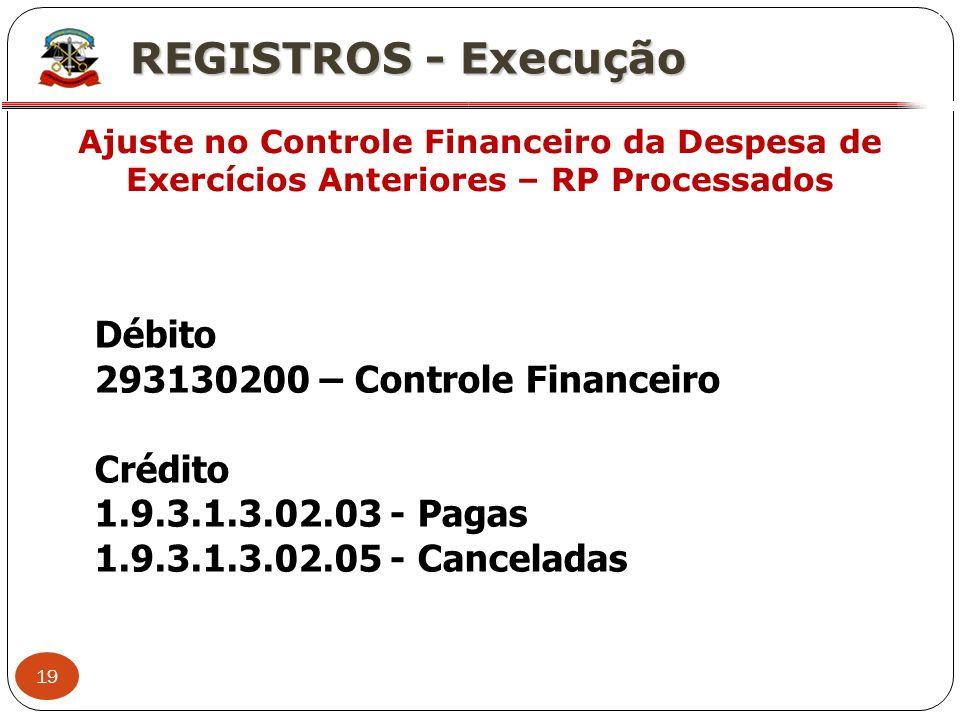 19 X REGISTROS - Execução Ajuste no Controle Financeiro da Despesa de Exercícios Anteriores – RP Processados Débito 293130200 – Controle Financeiro Cr