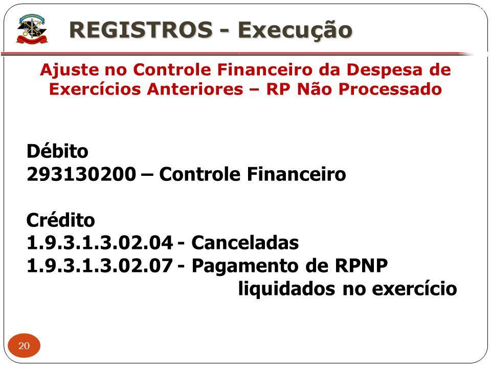 20 X REGISTROS - Execução Ajuste no Controle Financeiro da Despesa de Exercícios Anteriores – RP Não Processado Débito 293130200 – Controle Financeiro