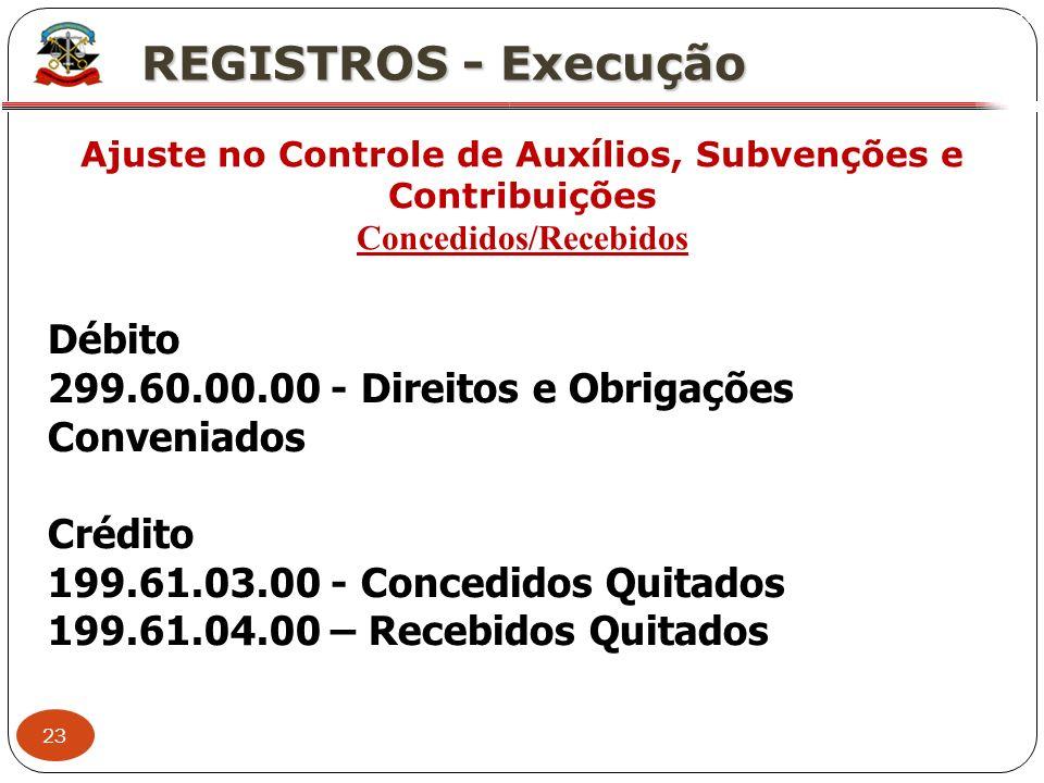 23 X REGISTROS - Execução Ajuste no Controle de Auxílios, Subvenções e Contribuições Concedidos/Recebidos Débito 299.60.00.00 - Direitos e Obrigações